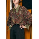 Fancy Women's Shirt Ditsy Floral Pattern Button Fly Point Collar Long Flare Cuffs Sleeves Relaxed Fit Shirt Blouse