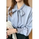 Leisure Women's Shirt Blouse Lace Trim Solid Color Tie Front Long Bishop Sleeves Regular Fitted Shirt Blouse