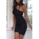 Elegant Womens Dress Halter Rhinestone One Shoulder Short Sheath Dress in Black