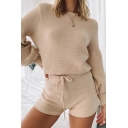 Pretty Girls Set Solid Color Long Sleeve Crew Neck Relaxed Sweater & Fit Shorts Set
