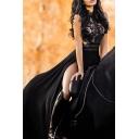 Trendy Women's Maxi Dress Lace Patchwork Broderie Detail Scalloped Hem Backless Sleeveless High Split Maxi Gown Dress