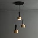 Grenade Bar Hanging Light Metallic 3-Bulb Postmodern Multi Pendant in Brass-Black, Round/Linear Canopy