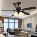 5-Blade Clear Glass Floral Pendant Fan Light Rustic 3-Light Bedroom Pull Chain Semi Flush Mount in Black, 31.5