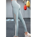 Womens Basic Leggings High Waist Mesh Patched Contrasted Solid Ankle Fitted Leggings