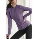Sportswear Womens Jacket Plain Long Sleeve Stand Collar Zipper Front Regular Fit Jacket