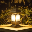 Black/Bronze Lantern Landscape Lamp Fixture Vintage Metallic 1-Light Outdoor Post Light