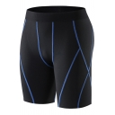Trendy Men's Fitness Shorts Contrast Stitching Elasticity Workout Shorts