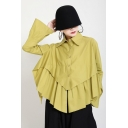 Unique Women's Shirt Blouse Solid Color Pleated Button Closure Turn-down Collar Long Flare Cuff Sleeves Asymmetrical Hem Relaxed Fit Shirt
