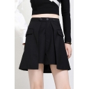 Elegant Women's Shorts Plain Button Front Flap Pcoekt Asymmetrical Hem Pleated High Waist Shorts