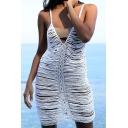 Novelty Womens Slip Dress Plain Knitted Hollow out Detail Deep V Neck Sleeveless Slim Fitted Mini Beach Cover up Dress