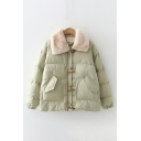 Fashionable Women's Coat Quilted Solid Color Flap Pockets Fur Collar Horn Button Closure Long Sleeves Relaxed Fit Coat