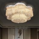 Contemporary Flower Flush Mount Ceiling Lamp 15 Lights Crystal Flushmount Lighting in Stainless Steel