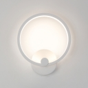 Contemporary Simple Wall Fixture 12W Halo LED Wall Light Metal 8.27