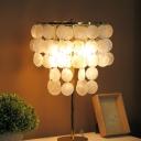 Layered Seashell Nightstand Lamp Coastal 1/2-Light Bedroom Table Lighting in Silver/Gold