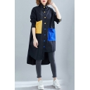 Retro Shirt Button-down Color Block Contrast Panel Big Pockets Asymmetrical Hem Long Sleeves Point Collar Relaxed Fit Shirt Blouse for Women