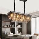 Rectangle/Round Dining Room Pendant Light Modern Crystal 6/8/18-Light Black Small/Medium/Large Hanging Chandelier
