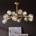 Brass 6/12/18 Bulbs Hanging Lamp Postmodern Crystal-Orb Branching Chandelier Light for Living Room