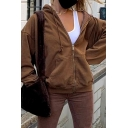 Unique Womens Jacket Plain Kangaroo Pocket Drawstring Zipper Fly Tunic Long Sleeve Regular Fit Hooded Casual Jacket