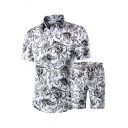Trendy Mens Co-ords Paisley Chain Floral Pattern Button-down Point Collar Short Sleeves Regular Fitted Shirt with Drawstring Waist Shorts Set