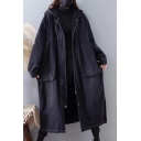 Retro Womens Coat Leopard Skin Panel Large Pockets Front Side Split Zipper up Longer Length Hooded Loose Fit Long Sleeve Trench Coat