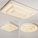 Small/Medium/Large Simple LED Flushmount White 3-Tiered Round/Square/Rectangle Ceiling Light with Crystal Shade