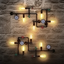 Iron Bike/Faucet/Cage Wall Sconce Light Steampunk 3/5 Bulbs Living Room Wall Lighting in Black