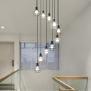Loft Wire Cage Multi-Pendant 7 Bulbs Iron Hanging Light Fixture in Black for Dining Room