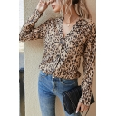 Ladies Chic Long Sleeve Notched Collar Leopard Pattern Button Up Regular Shirt in Khaki