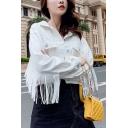 Women's Fringed Embellished Single-Breasted White Denim Cropped Jacket Coat