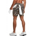 Leisure Men's Active Set All over Camo Print Crew Neck Short Sleeves Asymmetrical Hem Regular Fitted Tee Top with Drawstring Waist Shorts Training Co-ords