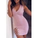 Sexy Deep V-Neck Crisscross Side Sleeveless Bodycon Mini Dress