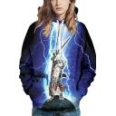 Spoof Mens Hoodie Dark Blue Lightning Cat 3D Printed Long Sleeve Relaxed Hoodie with Pocket