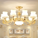 Gourd Shaped Living Room Hanging Light Modern White Glass 10/15/18 Heads Gold Chandelier