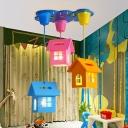 House Shaped Multi-Light Pendant Cartoon 3 Lights Nursery Hanging Ceiling Light in Blue