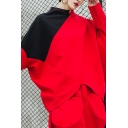 Stylish Womens T Shirt Patchwork Batwing Sleeve Mock Neck Irregular Hem Loose Fit T-shirt in Red