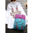 Trendy Women's Shirt Blouse Floral Embroidered Button Fly Round Neck Long Sleeves Relaxed Fit Shirt Blouse