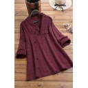 Trendy Women's Blouse Plaid Button Detail Long Sleeved Cotton and Linen Relaxed Fit Pullover Blouse