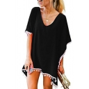 Womens Stylish Dress Plain Tassel Trim Batwing Sleeve V-neck Short Relaxed Dress