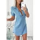 Light Blue Dress Short Sleeve Spread Collar Button Up Short A-line Fancy Denim Dress for Women