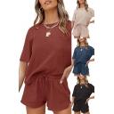Leisure Girls Set Plain Short Sleeve Crew Neck Loose Tee & Shorts Co-ords