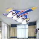 Jet White Glass Flush Mount Light Fixture Kids 3/4-Bulb Blue Close to Ceiling Lamp for Bedroom