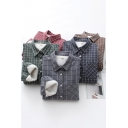 Leisure Womens Shirt Checkered Pattern Sherpa Liner Long Sleeve Point Collar Relaxed Shirt
