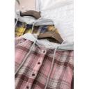 Fashion Girls Shirt Hooded Long Sleeve Sherpa Liner Plaid Pattern Drawstring Relaxed Shirt