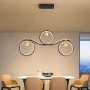 Circle Symmetrical Island Pendant Nordic Metal Black LED Suspension Light in Third Gear/Remote Control Stepless Dimming