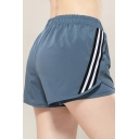 Casual Womens Shorts Fake Two Piece Tape Patched Elastic Waist Quick Dry Fitted Shorts
