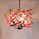 Wrought Iron Pink Pendant Lighting Strap Globe 4-Light Rustic Cherry Chandelier Light
