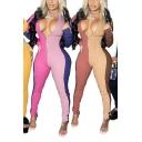 Trendy Jumpsuit Ribbed Colorblock Long Sleeve Deep V-neck Long Skinny Jumpsuit for Women