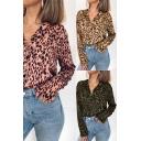 Hot Girls Shirt Leopard Pattern Long Sleeve Notched Collar Button Up Loose Shirt Top