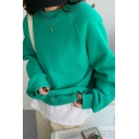 Casual Women's Sweatshirt Solid Color Ribbed Trim Brushed Long Sleeves Loose Fitted Brushed Raglan Round Neck Sweatshirt