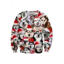 Spoof Boys Sweatshirt Dog 3D Printed Long Sleeve Crew Neck Relaxed Fit Pullover Sweatshirt in Red-white
